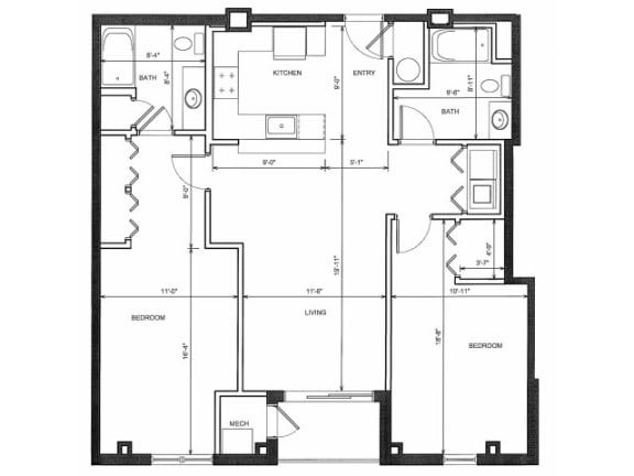 Two Bedroom Two Bath 2D Floor Plan| Endicott Green