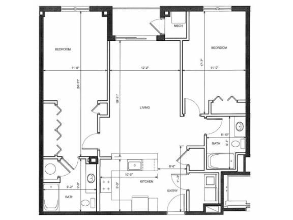 Two Bedroom Two Bath 2EE Floor Plan |Endicott Green