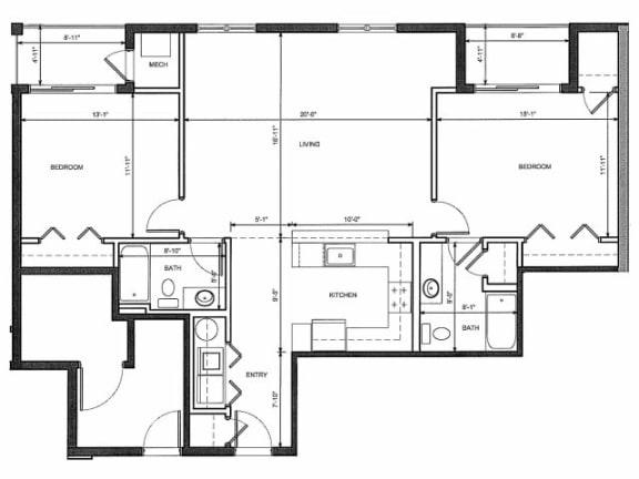 Two Bedroom Two Bath 2F Floor Plan |Endicott Green