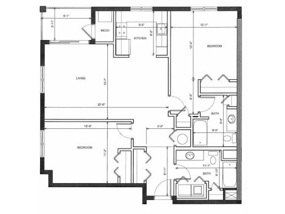 Two Bedroom Two Bath 3A Floor Plan |Endicott Green