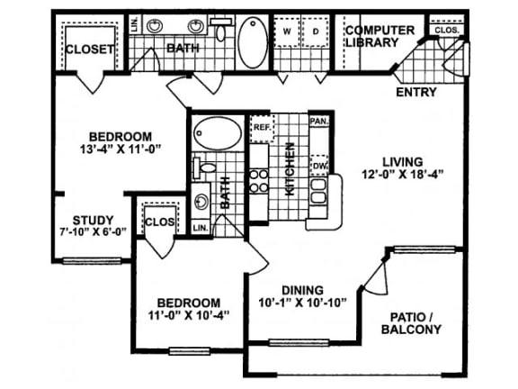 2X2 C Floor Plan  Lodges at Lakeline Village