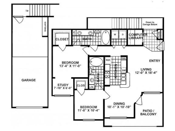 Floor Plan  2X2F Floor Plan| Lodges at Lakeline Village