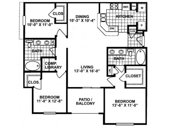 3X2H-SILVERPACKAGE Floor Plan  Lodges at Lakeline Village