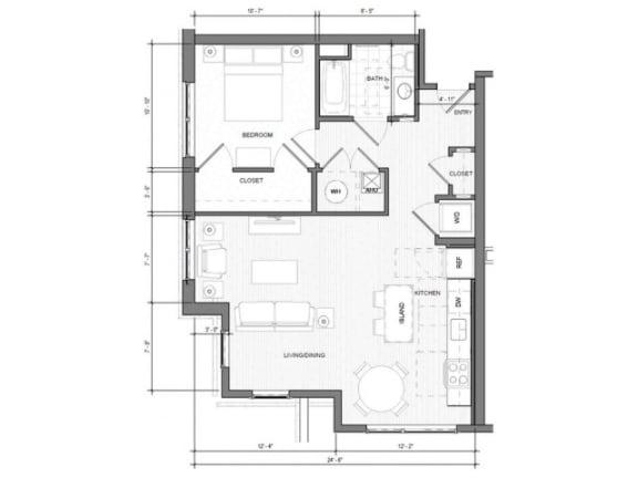 1BR Corner Floor Plan| Merc