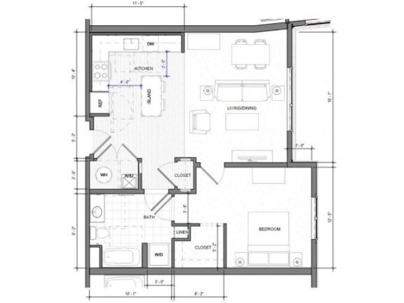 1BR D Floor Plan| Merc