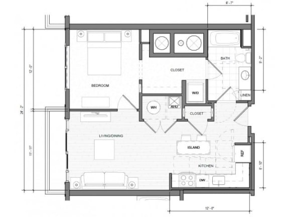 1BR H Balcony Floor Plan| Merc
