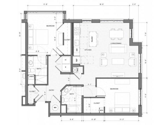 2 Bedroom Floor Plan| Merc