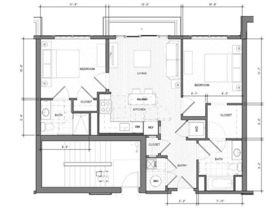 2BR B Balcony Floor Plan| Merc