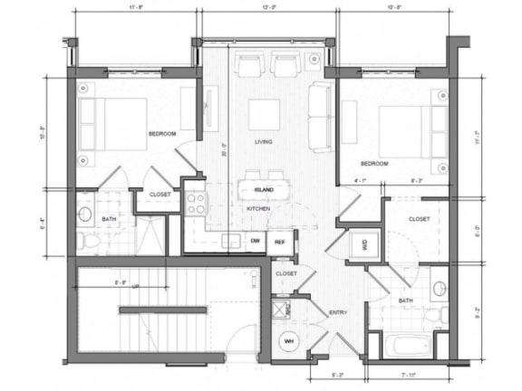 2BR B Floor Plan| Merc