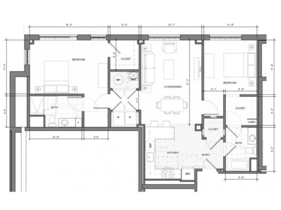 2BR-H-Level-1 Floor Plan| Merc