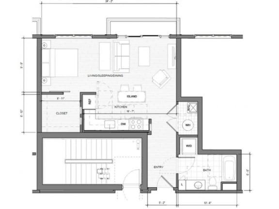 Studio-D-Balcony Floor Plan| Merc