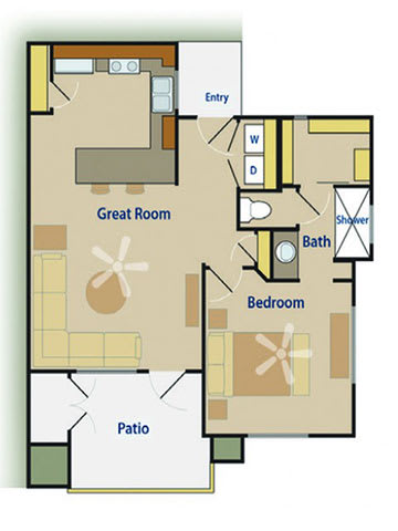 One Bedroom Downstairs Floor Plan |Pima Canyon