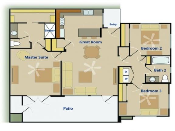 Three Bedroom Floor Plan  Pima Canyon