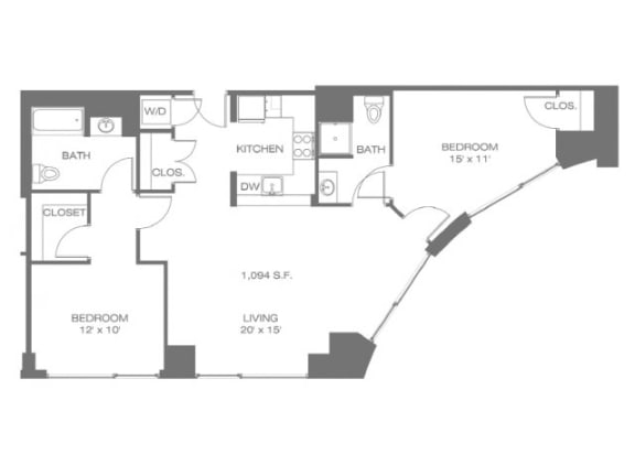 Two Bedroom Corner Floor Plan  Residences at Manchester Place