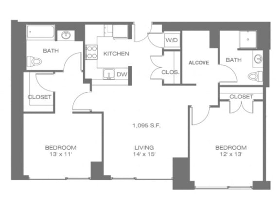 Two Bedroom W/Alcove Floor Plan |Residences at Manchester Place
