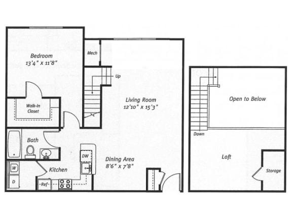 Floor Plan  1Bed1Bath_1037 Floor Plan |Residences at Westborough