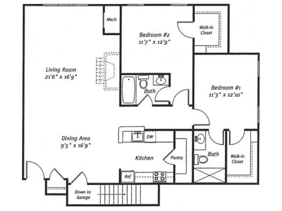 2Bed2Bath_1386 Floor Plan  Residences at Westborough