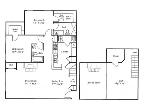 2Bed2Bath_1561 Floor Plan  Residences at Westborough