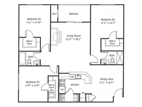 3Bed2Bath_1321 Floor Plan  Residences at Westborough