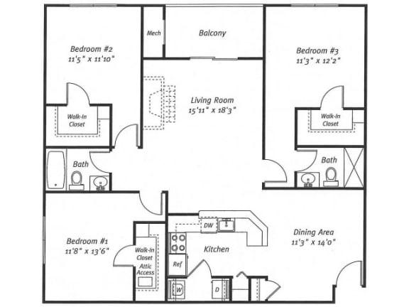 3Bed2Bath_1499 Floor Plan  Residences at Westborough
