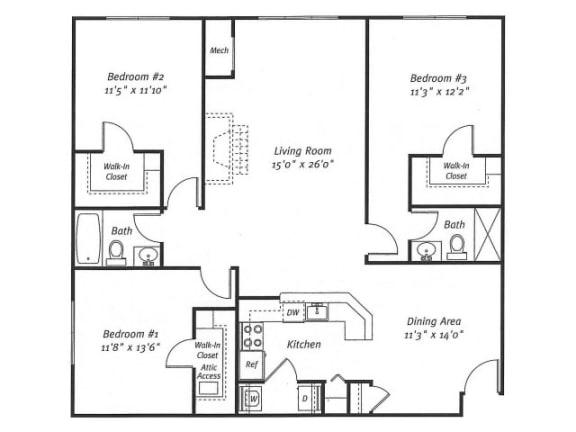 3Bed2Bath_1562 Floor Plan  Residences at Westborough