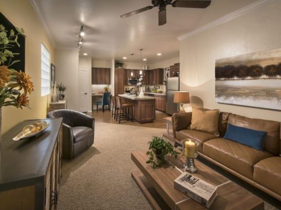 Living Room With Kitchen View  Villas at San Dorado