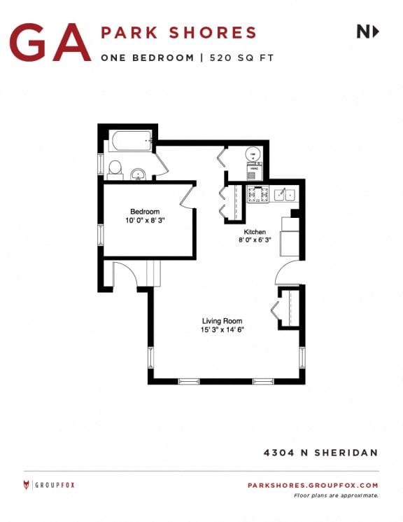 Park Shores -  One Bedroom Floorplan GA