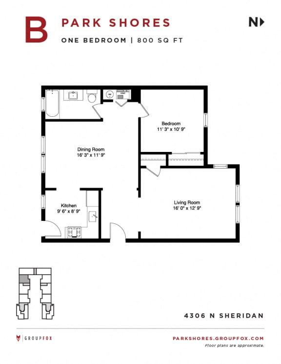 Park Shores - One Bedroom Floorplan B