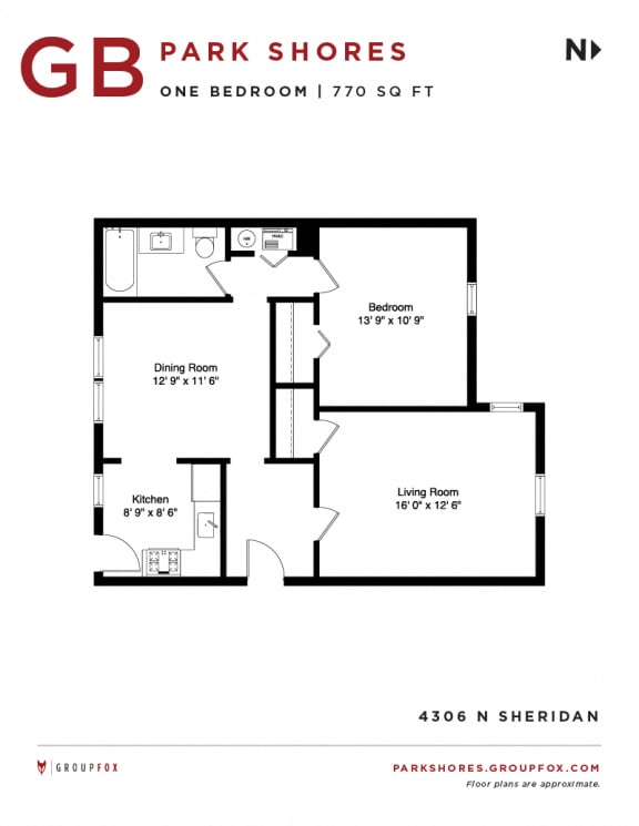Park Shores - One Bedroom Floorplan GB