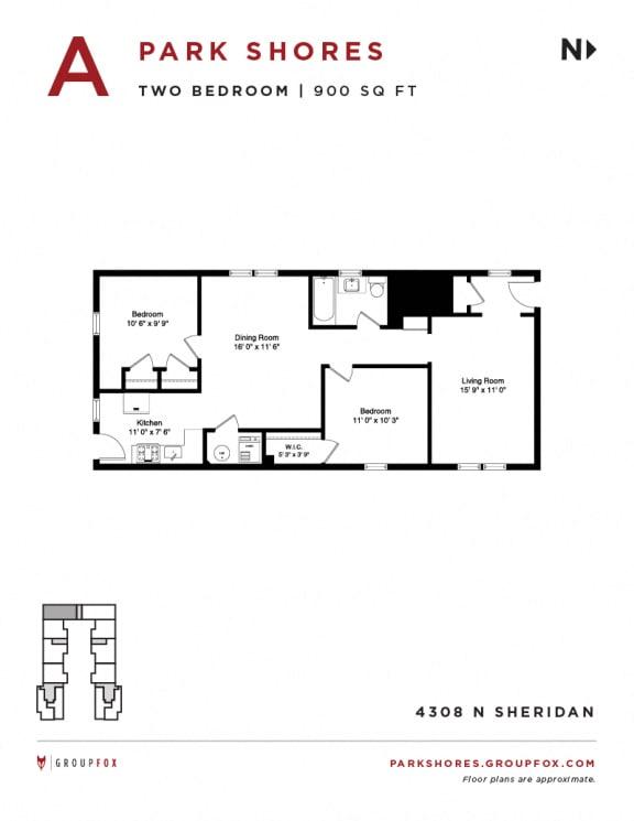Park Shores -  Two Bedroom Floorplan A