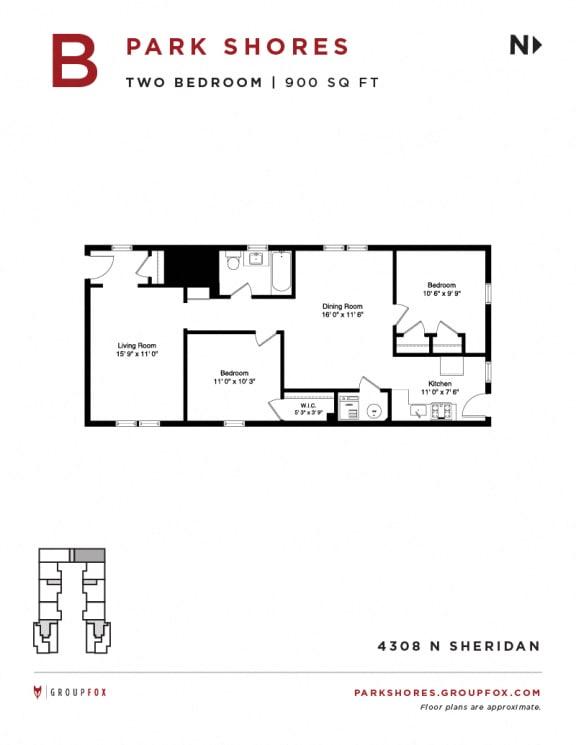 Park Shores - Two Bedroom Floorplan B