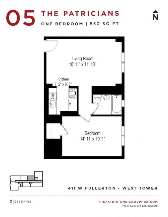 Group Fox - The Patricians - One Bedroom Floor plan