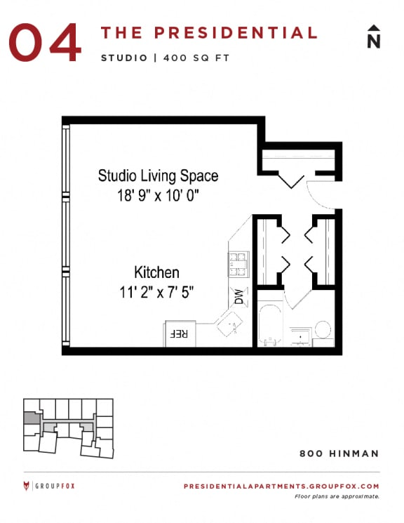 Presidential Apartments - Studio Floorplan