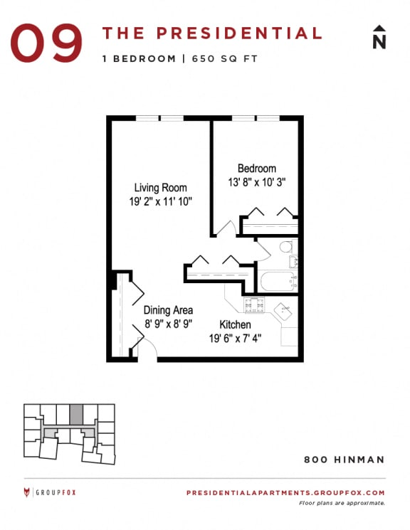 Presidential Apartments - One Bedroom Floorplan