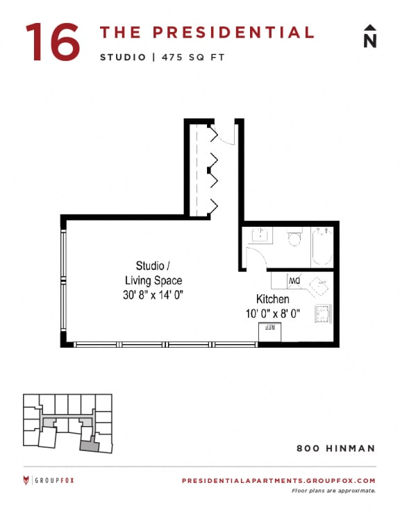 Presidential Apartments - Studio Bedroom