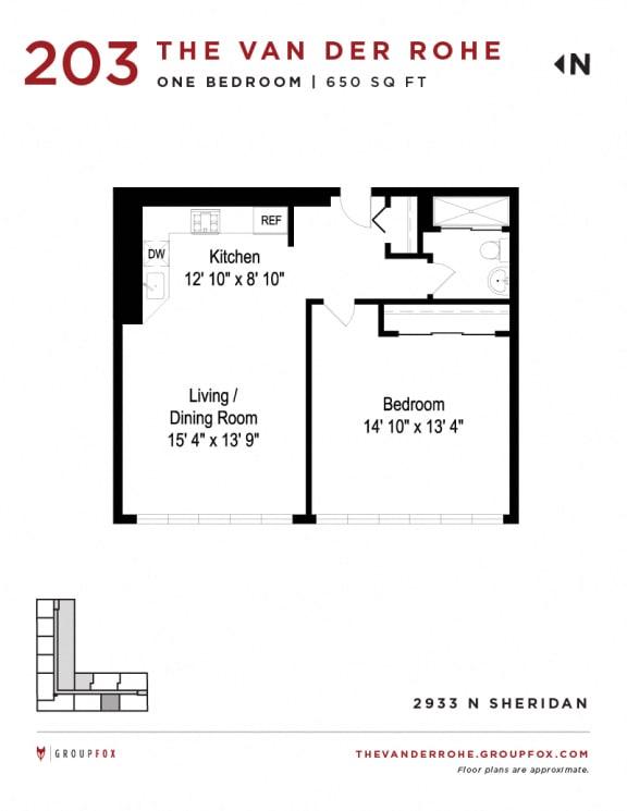 Group Fox - The Van Der Rohe - One Bedroom Floor Plans