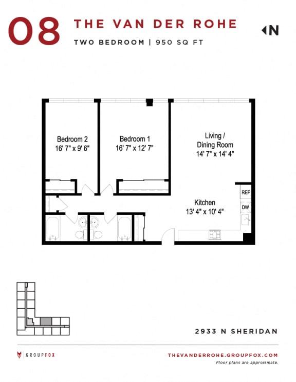 Group Fox - The Van Der Rohe - Two Bedroom Floor Plan s