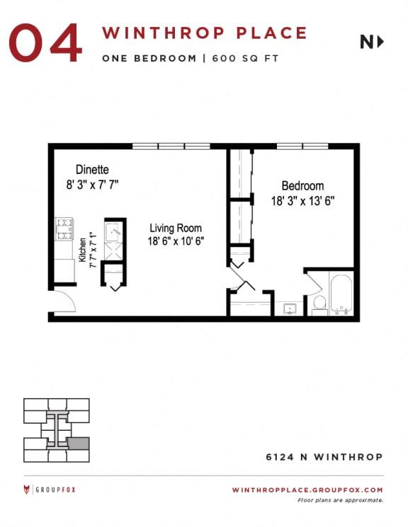 Winthrop Place - One Bedroom Floorplan