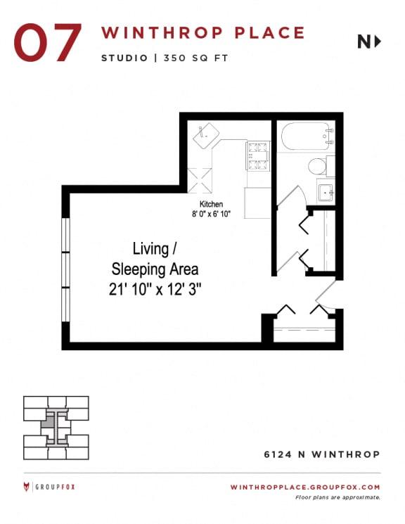 Winthrop Place - Studio Floorplan