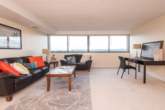 furnished living room at Walnut Towers at Frick Park in Pittsburgh 15217