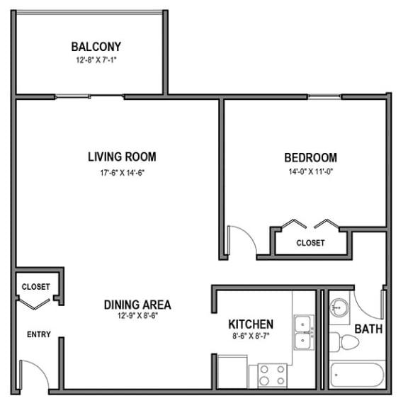 Floor Plan  Walnut Crossings 1 BR, 1 Bath, Balcony, Walnut Crossings Apartments, Monroeville, PA