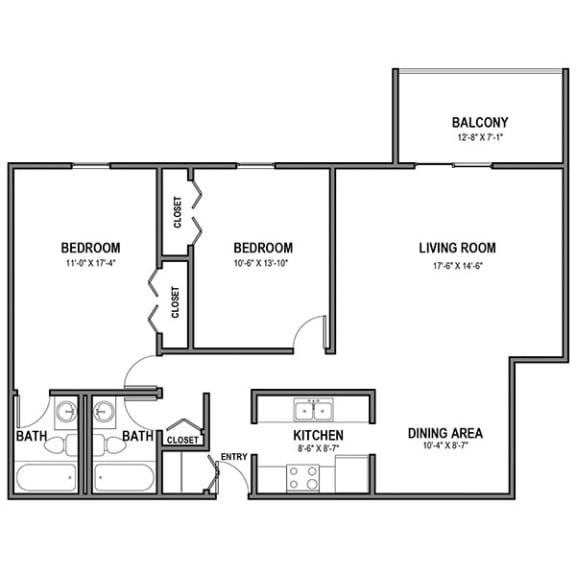 Floor Plan  Walnut Crossings 2 BR, 2 Bath, Balcony, Walnut Crossings Apartments, Monroeville, PA