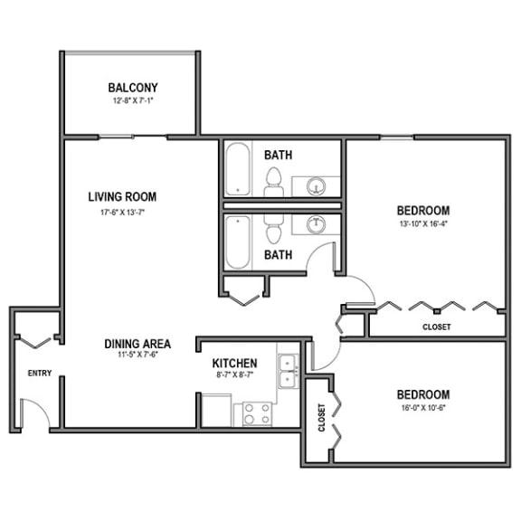 Floor Plan  Walnut Crossings Large 2 BR, 2 Bath, Balcony, Walnut Crossings Apartments, Monroeville, PA