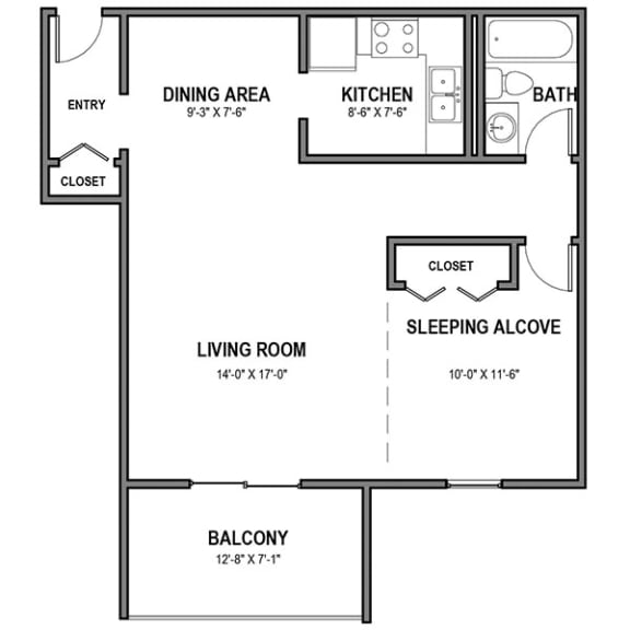 Floor Plan  Walnut Crossings Studio and Balcony, Walnut Crossings Apartments, Monroeville, PA
