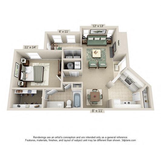 Floor Plan  1 Bed/1 Bath
