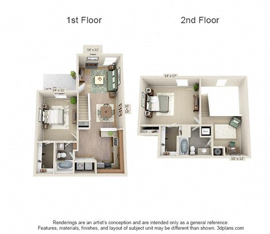 Floor Plan  2 Bed/2 Bath B