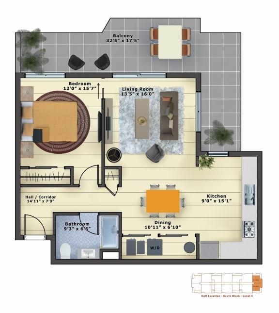 Floor Plan  Emerald (1b/1b)