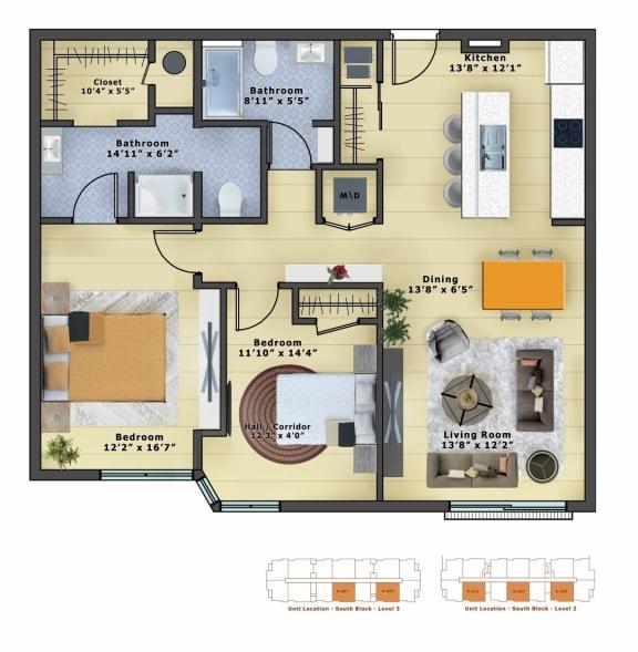 Floor Plan  Gold (2b/2b)