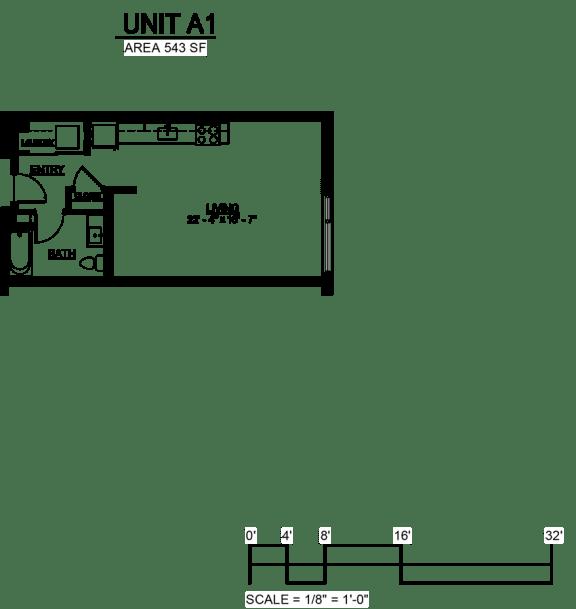 Floor Plan  Riverwest Floor Plan - A1 - 543 sqft