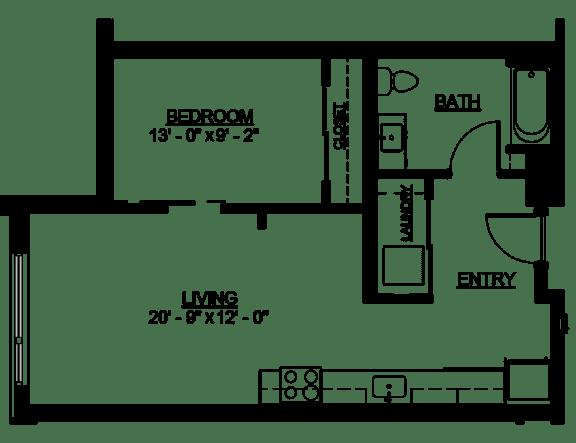 Floor Plan  Riverwest Floor Plan - A2 - 634 sqft
